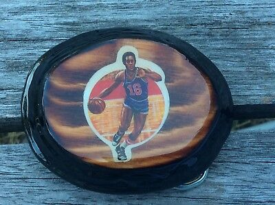 Vintage 1970's Laminated Wood Belt Buckle BASKETBALL New Old Stock RETRO COOL