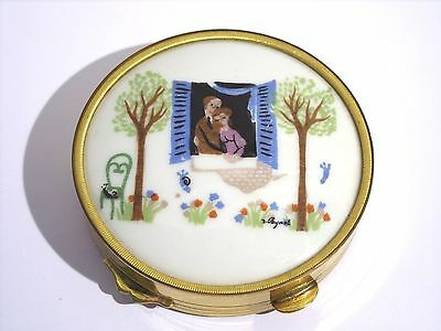 Rare Vintage MIREF French Painted Porcelain Powder Compact Signed Peynet 1950s