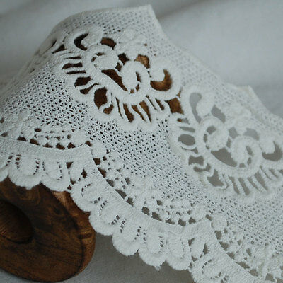 Floral Rose Flower Ghost White GLGW02 Guipure Lace Bridal Trim 165mm Wide