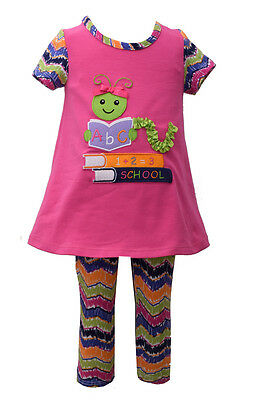 Bonnie Jean Girls Back To School Bookworm  Dress & Leggings Outfit 4 5 6 6X New