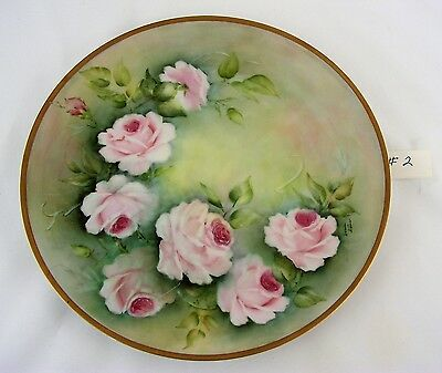Beautiful Vintage Hand Painted Pink Roses Porcelain Decorative Plate Artist (#2)