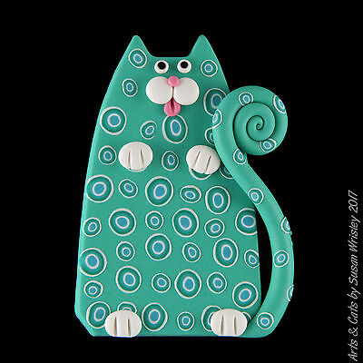 Turquoise Kitty Cat with Jazzy Spots Pin - SWris