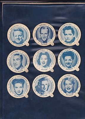 1950 DIXIE LID MOVIE STAR LOT  9 DIFFERENT LIDS  includes BING CROSBY  AUTHENTIC