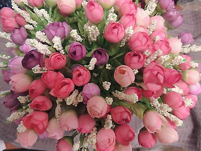 10 Bunches Mixed Artificial Roses Flowers Silk Leaf Bouquet Bridal Home Decor
