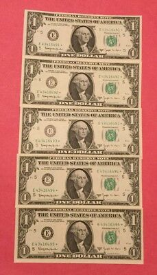 """1963 B Joseph W. Barr  5 Cu."""" Star """" Notes In Sequence 6491-6495"""