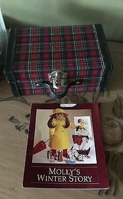 American Girl Doll Molly Red And Green Plaid Suitcase Luggage From Winter Story