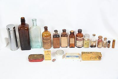19 Antique medice bottles or items from early 1900's