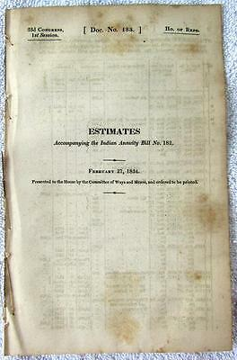 1834 INDIAN ANNUITY & TREATY Appropriations Tribes Stipulations Education