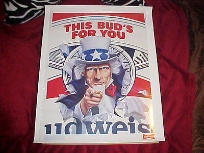"Budweiser--Vintage Nos Advertising Poster! ""this Bud's For You"" Hard To Find!"