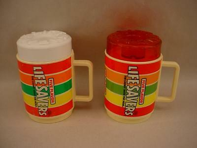Vintage Life Savers Lifesaver Mugs with Lids Lot of 2 Red White 1 each Exc Cond