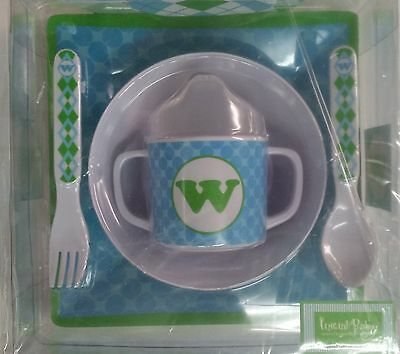 Mud Pie 5-Pc Baby Boy Initial Plate Bowl Sippy Cup Fork & Spoon Set,initial W