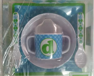 Mud Pie 5-Pc Baby Boy Initial Plate Bowl Sippy Cup Fork & Spoon Set,initial D