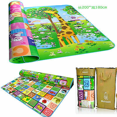 2x1.8m Baby Play Mat Kid Toddler Child Floor Rug Cushion Carpet Double Sides