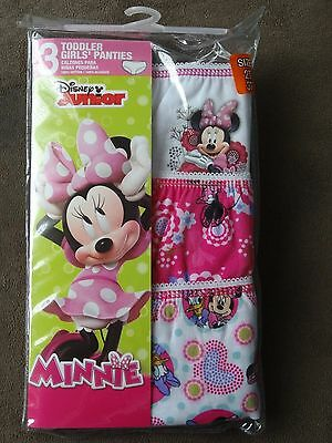 Disney Minnie Mouse 3 Toddler Girls' Panties-Size 2T/3T-New In Pkg-Free Shipping
