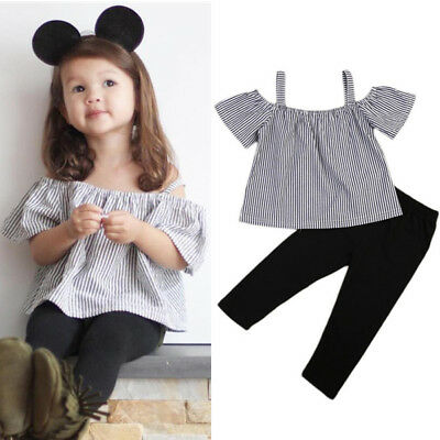 UK 2pcs Toddler Baby Girls 2PCS Kids Off-shoulder Tops T-Shirt+Long Outfits 1-6Y