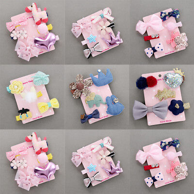 6Pcs Hairpin Baby Girl Hair Clip Bow Flower Mini Barrettes Star Kids Infant US