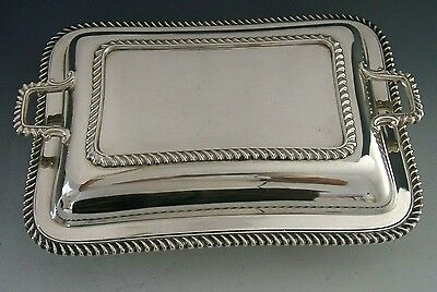 STUNNING LARGE HEAVY ENGLISH STERLING SILVER ENTREE DISH 1920 ANTIQUE 1325g