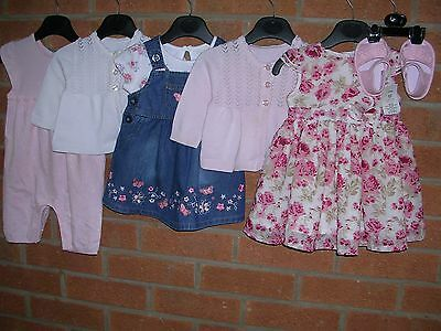 Mainly GEORGE Girls Summer Bundle Outfits Tops Dress Cardigan Age 0-3m
