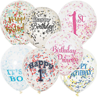 """6 12"""" Clear Confetti Filled Birthday Party Balloons Wedding Decorations Girl Boy"""