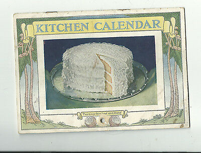 Baker's Coconut  advertising  1928  Kitchen Calendar compleate recipes
