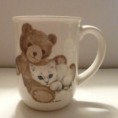 JONAH'S Workshop Otagiri CUP V. Miller Sig. White Kitten & Teddy Bear 1970s
