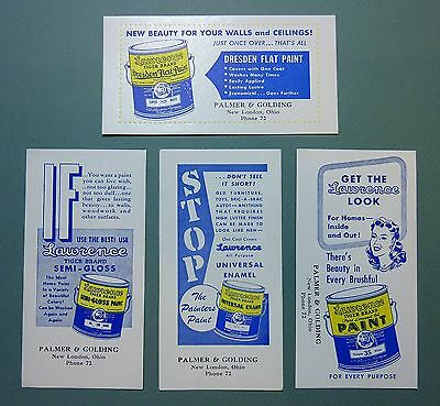 """4 Diff LAWRENCE  PAINT Unused Blotters - 3¼""""x6¼"""", 1940s, Pittsburgh, Great Cond"""