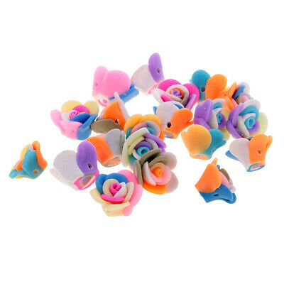 20pcs Polymer Clay Cute Flower Rose Beads DIY Findings Loose Beads Crafts