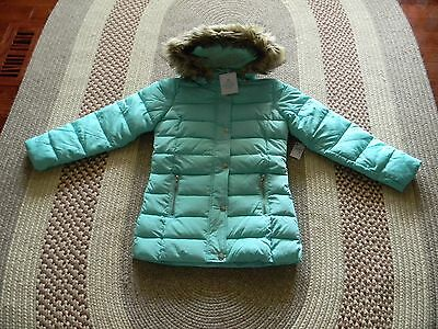 Nwt Justice Girls Mint Green Faux Fur Hooded Puffer Winter Coat Jacket 8/10