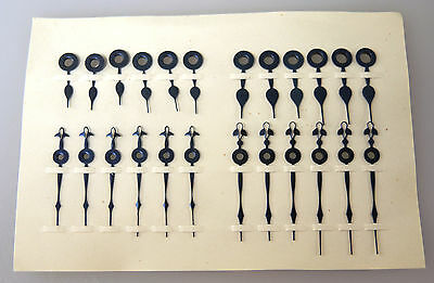 12 x 4 Different Sized OLD STOCK Fancy BLUE STEEL Pocket Watch hands c1890