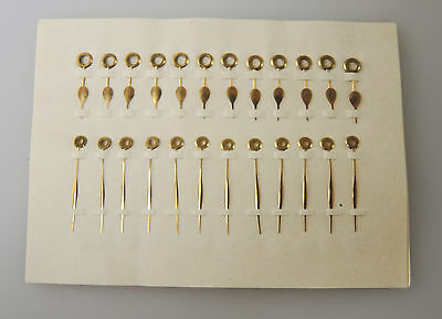 Set of 12 x Pairs of OLD STOCK Antique Gilt Pocket Watch hands c1890