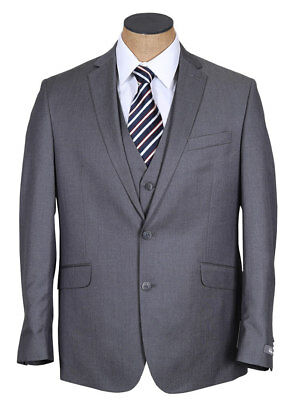 NEW Mens Kenneth Cole Gray Solid 2 Piece Slim Fit Suit 36R 36 R
