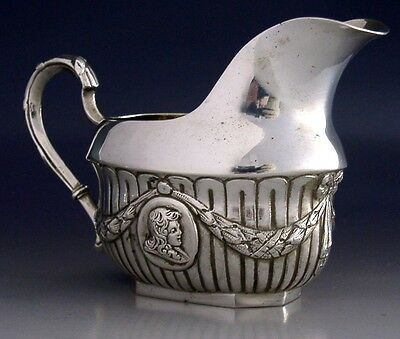 VERY GOOD QUALITY HEAVY GERMAN 800 SOLID SILVER CREAM JUG c1900 ANTIQUE
