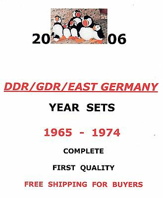 East-Germany/GDR/DDR: All stamps of 1965 - 1974 in a year set complete, MNH