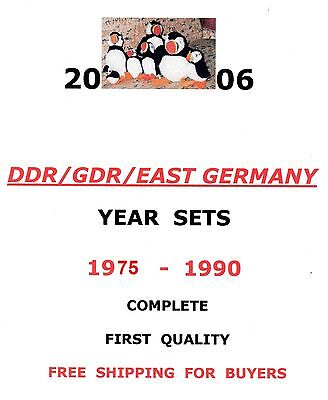 East-Germany/GDR/DDR: All stamps of 1975 - 1990 in a year set complete, MNH