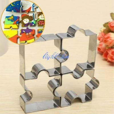 Stainless Steel Jigsaw Pieces Cookie Cutter Set 4pcs Baking Puzzle Shaped New C