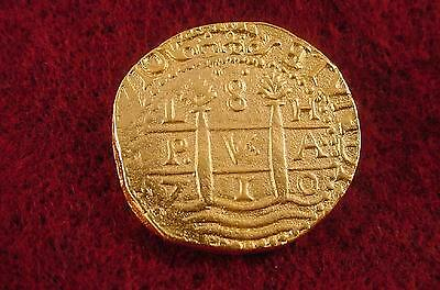 1715 Fleet Coin Reproduction 1710 Lima 8 Escudo
