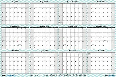 2018 2019 Academic Dry Erase Wall Calendar Yearly Planner Chevron Pattern 24x36