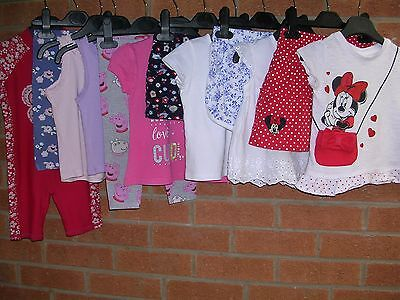 Minnie Mouse F&F GEORGE etc Girls Bundle Tops Shorts Leggings Age 12-18m