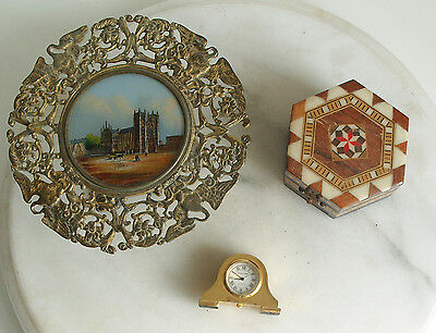 Vintage Brass Stand Pot Stand Table with Westminster Abbey plus box & clock