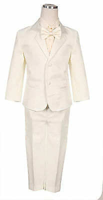 IVORY BOYS TUXEDO FORMAL SUIT WEDDING 5 PC SET ALL SIZE 14 satin bow tie stripe