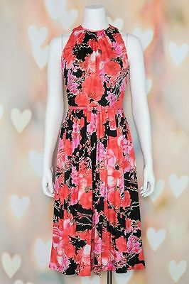 VTG 70s MOD Pink *ADELE SIMPSON* Red Floral DISCO Cocktail MIDI DRESS XS-S