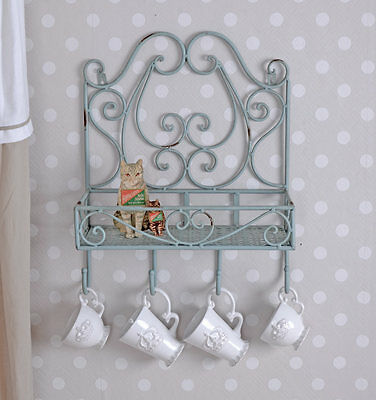 Wall Shelf Shabby Chic Wall Board Wardrobe Hanging Shelf Hook Hook Rail Vintage
