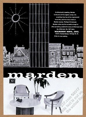 1960 Marden furniture modern chair table photo vintage print ad