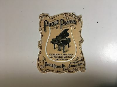 Poole Piano Co., Boston, MA celluloid advertising bookmark