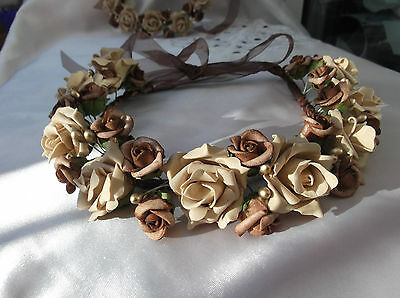 Latte' Coffee/Chocolate/Gold  Circlet - Wedding Halo, Flower Girl - by Valerie J