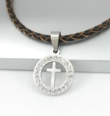 Silver Crystal Celtic Cross Pendant Womens Mens Brown Braided Leather Necklace