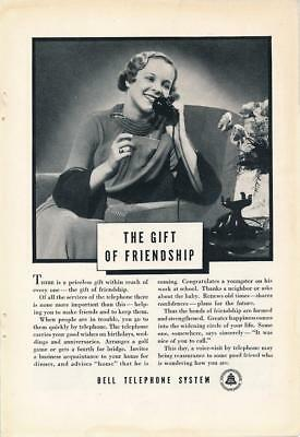 Vintage Magazine Ad - 1935 - AT&T / Bell System - The Gift of Friendship