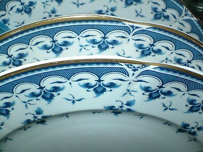 "One Block Windsor Bone China Dinner Plate 10.5"" Blue Leaf Excellent Condition"