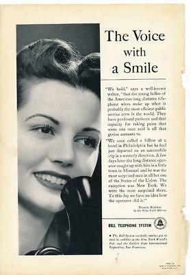 Vintage Magazine Ad - 1940 - AT&T / Bell System - Voice With A Smile