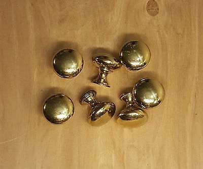 "Lot of 7 Round Brass 1"" Drawer Pulls Cabinet Knobs"